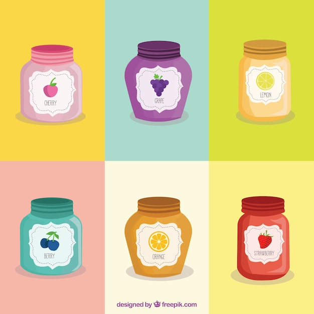 Jam of flavors pack Free Vector