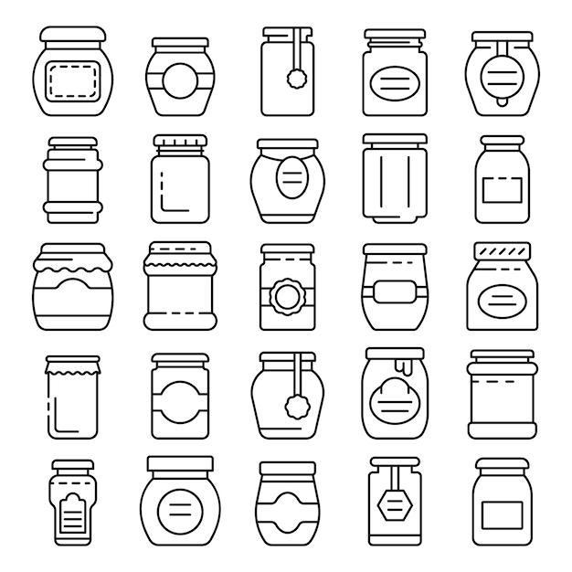 Jam jar icons set, outline style Premium Vector