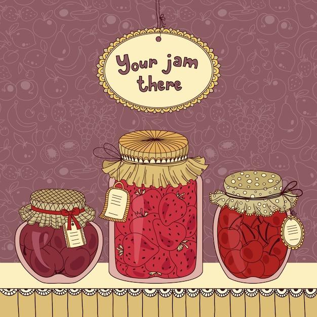 Jam jar set with tags Premium Vector