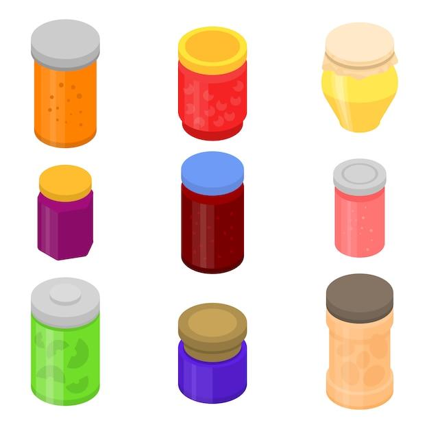 Набор иконок jam jar, изометрический стиль Premium векторы