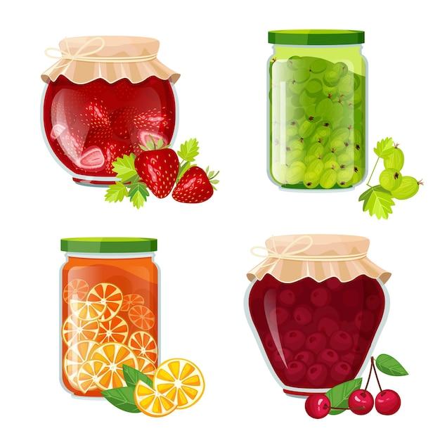 Банки для варенья. мармелад сахар здоровый фруктовый десерт в горшке иллюстрации Premium векторы