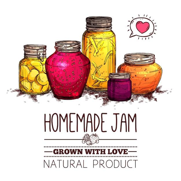 Jam jars poster Free Vector