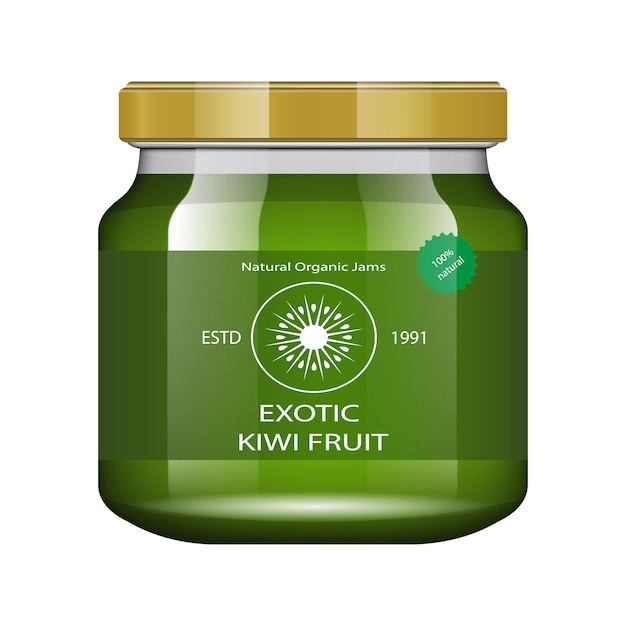 Jam kiwi. glass jar with jam and configure.  packaging collection. label for jam. bank realistic. Premium Vector