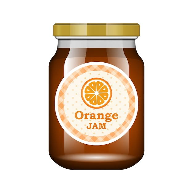 Jam orange. glass jar with jam and configure.  packaging collection. label for jam. bank realistic. Premium Vector