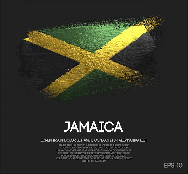 Jamaica flag made of glitter sparkle brush paint Premium Vector