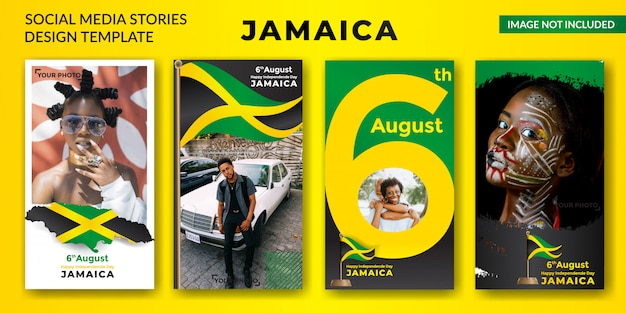 Jamaica independence day social media stories banner Premium Vector