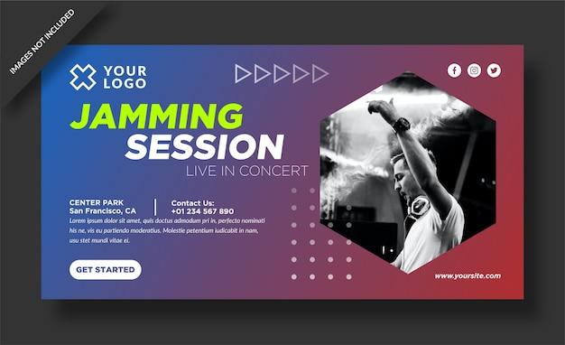Баннер jamming-сессии и сообщение в социальных сетях Premium векторы