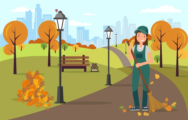 Janitor sweeping and cleaning road from leaves. Premium Vector