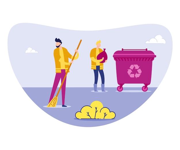 Janitor or volunteer in uniform sweeping litter Premium Vector