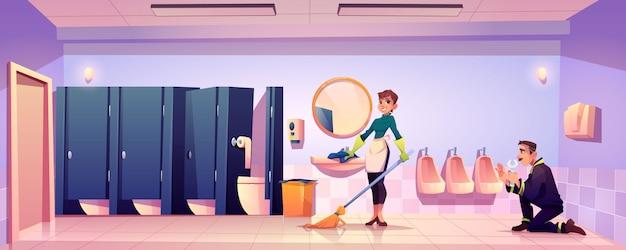 Donna bidello e idraulico lavorano in bagno pubblico Vettore gratuito