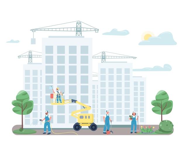 Бригада дворников убирает на улице плоские цветные безликие персонажи. дворники на строительной площадке изолировали иллюстрацию шаржа для веб-графического дизайна и анимации. услуги коммерческой уборки Premium векторы