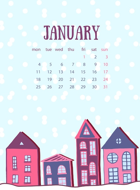 january calendar template winter street with cute home vector new year card premium vector