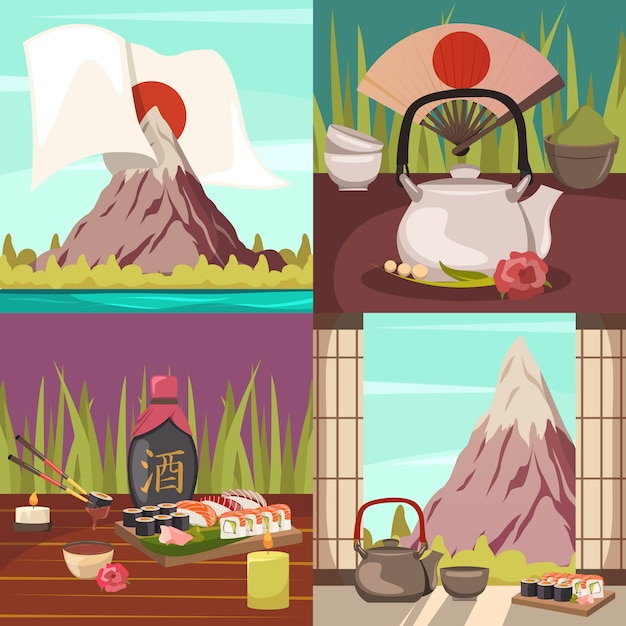 Japan culture concept orthogonal icons Free Vector