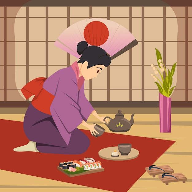 Japan culture traditions background poster Free Vector