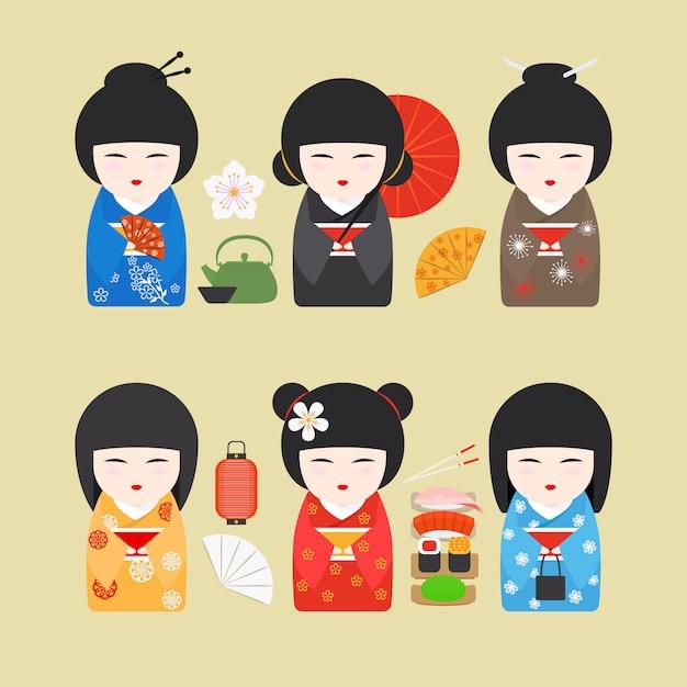 Japan dolls icons Premium Vector