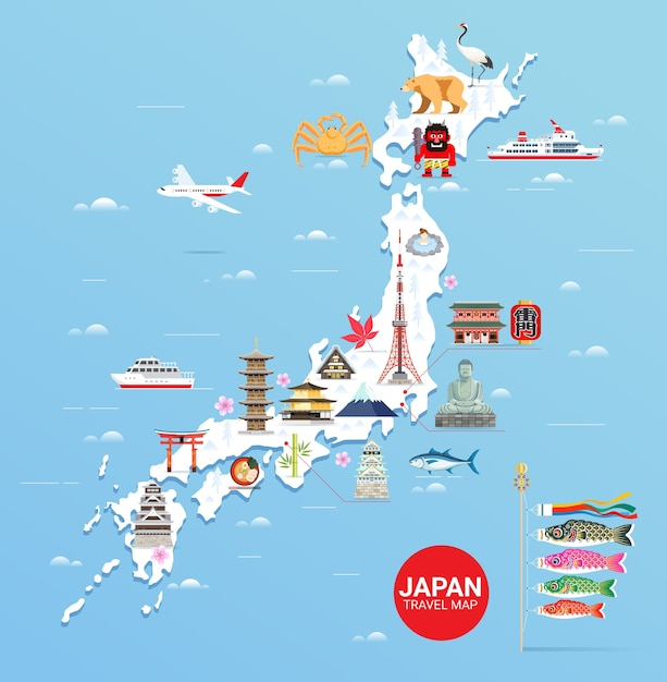 Карта путешествия известных достопримечательностей японии с токийской башней Premium векторы