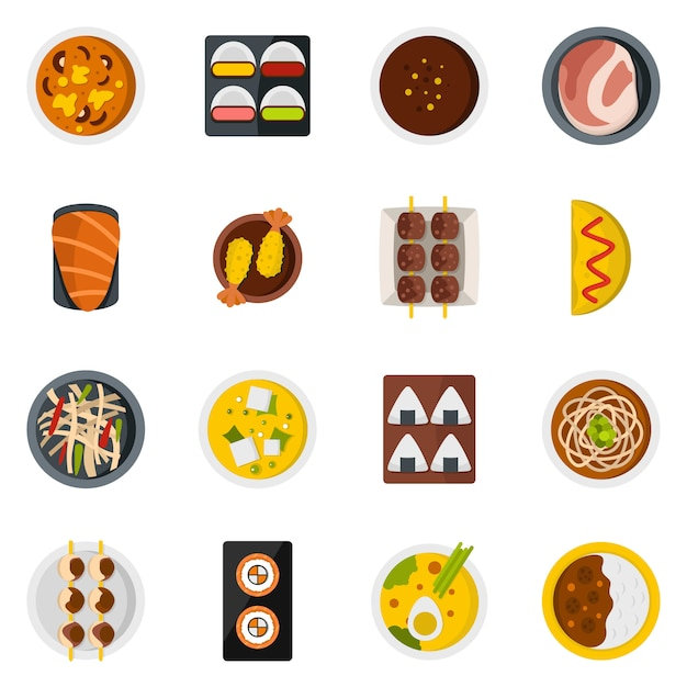Japan food icons set in flat style Premium Vector