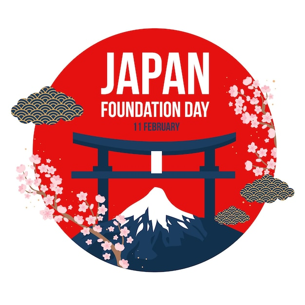 День основания японии в плоском дизайне Бесплатные векторы