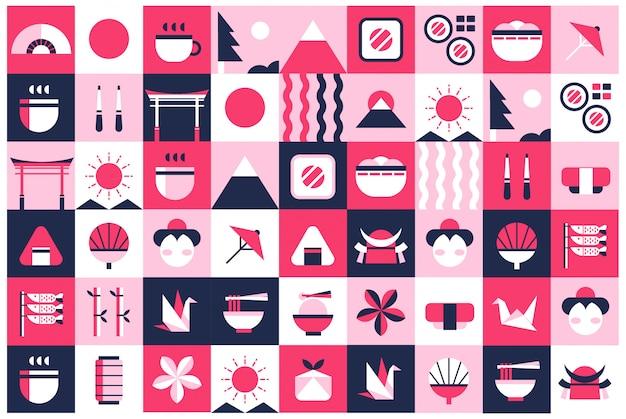Japan geometric background Premium Vector