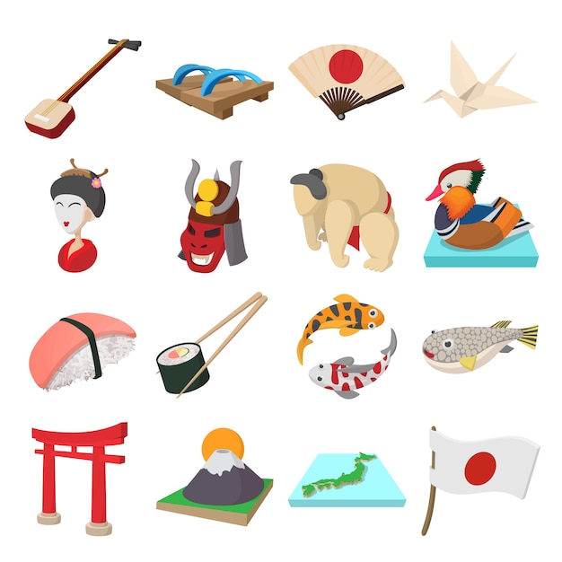 Japan icons set in cartoon style isolated vector Premium Vector