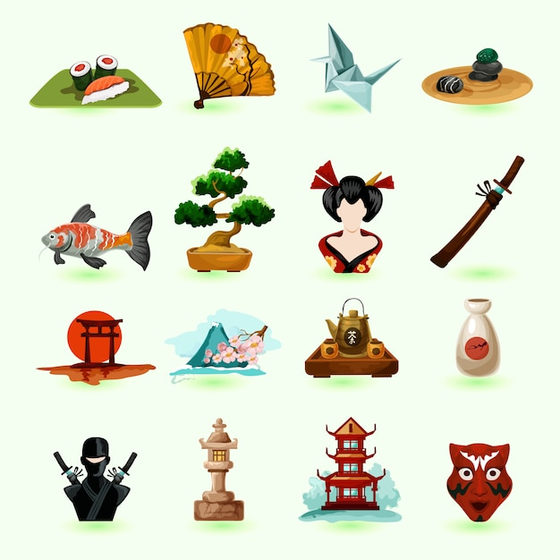 Japan icons set Free Vector