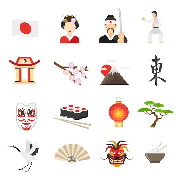 Japan icons set Free Vector