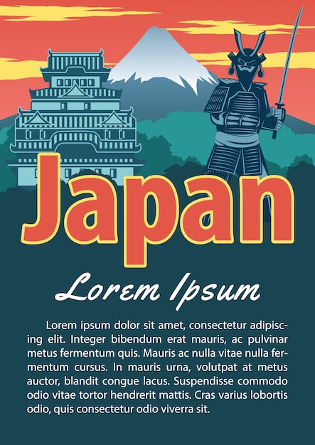 Japan landmark brochure Premium Vector
