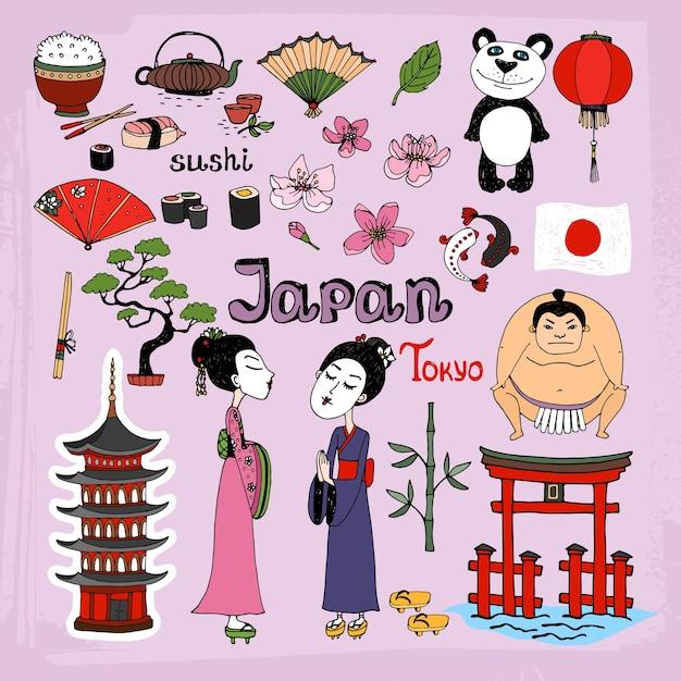 日本のランドマークと文化的アイコンが設定されました 無料ベクター