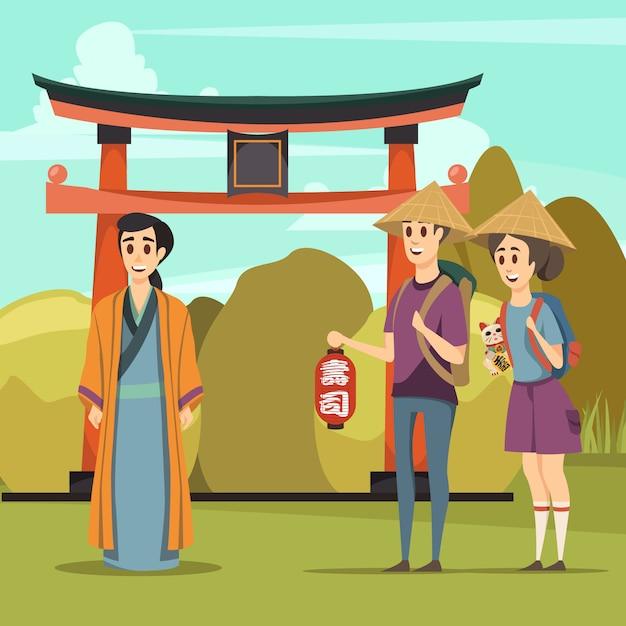 Japan landmarks travel orthogonal composition Free Vector