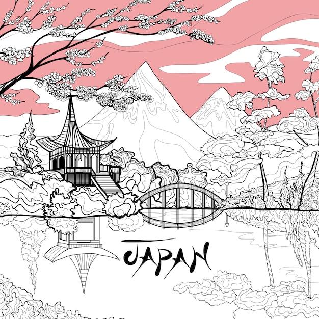 Japan landscape background Free Vector