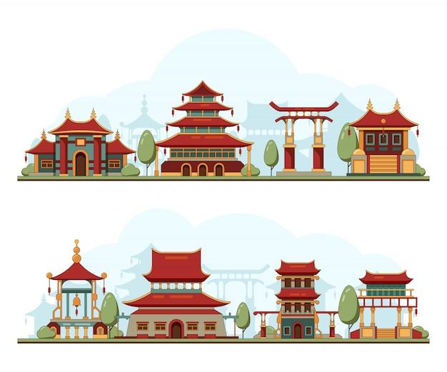日本の風景。伝統的な中国文化的建造物建築テンプレート塔宮殿背景イラスト Premiumベクター