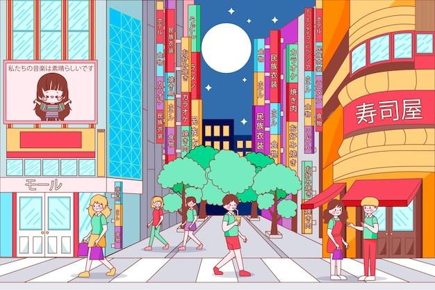 Japan modern street with people walking Free Vector