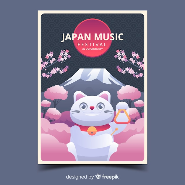 Japan music festival poster with gradient illustration Free Vector