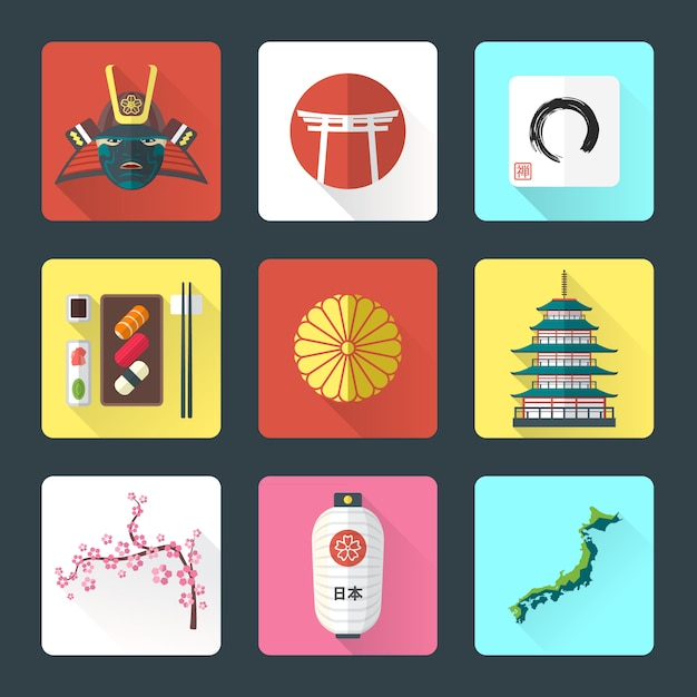 Japan national theme icons with shadow set Premium Vector