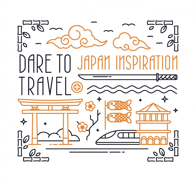 Japan postcard with lettering Premium Vector