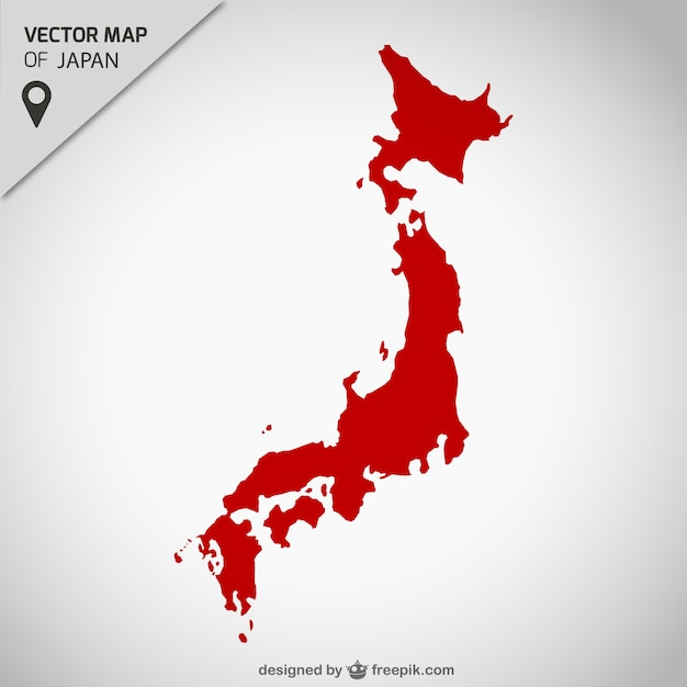 Japan red map Vector Free Download