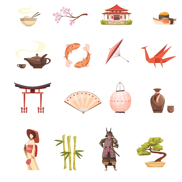 Japan retro cartoon icons set with shrine sakura geisha samurai origami  bonsai and bamboo Free Vector