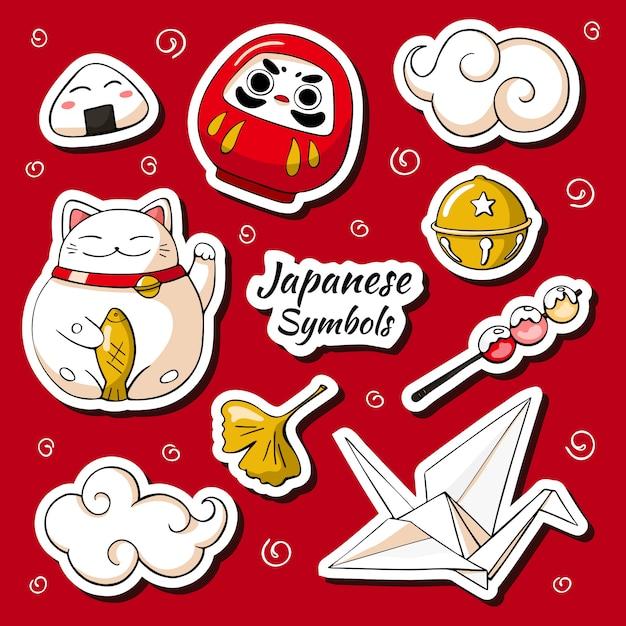 Japan symbols sticker set Premium Vector
