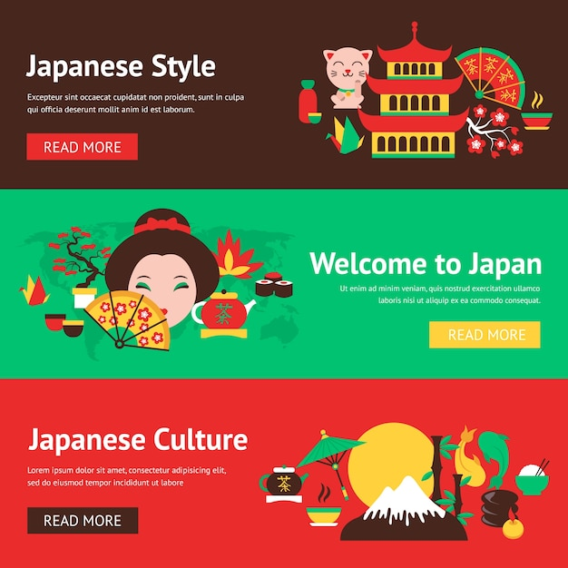 Japan Symbols Style And Culture Banner Set With Traditional Food And