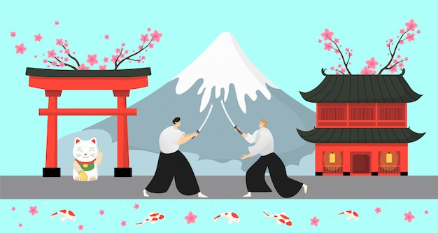 Япония традиционные элементы, самурай иллюстрации. азиатский деревенский пейзаж, пагода сакуры и высокая снежная гора Premium векторы