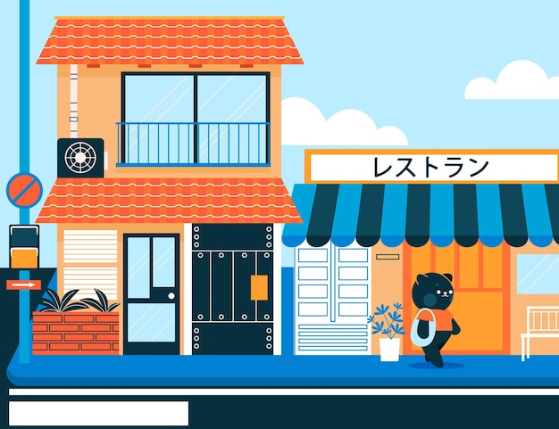 Japan traditional street with characters Free Vector