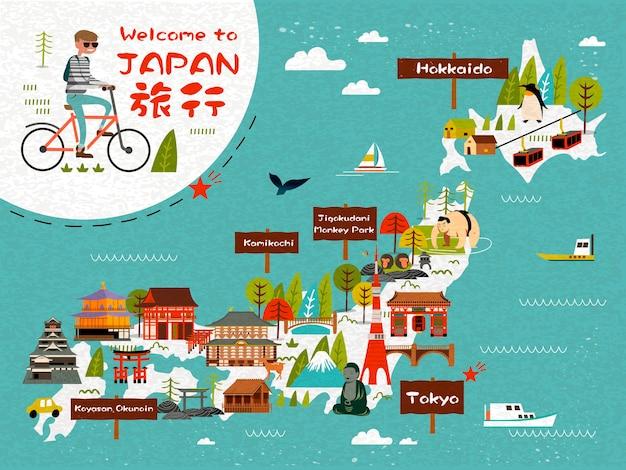 Карта путешествия японии с человеком, езда на велосипеде Premium векторы