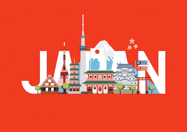 Japan travel places and landmarks. travel postcard, tour advertising of japan. Premium Vector