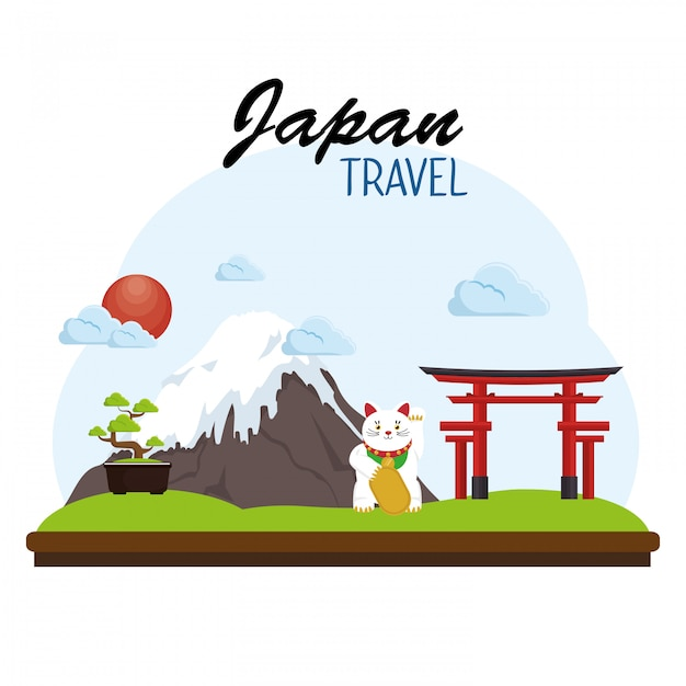 Japan travel poster concept Free Vector