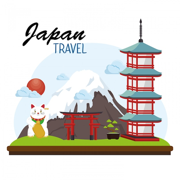 Japan travel poster place sign Free Vector