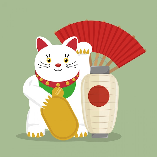Japan travel with symbol lucky cat fan Free Vector