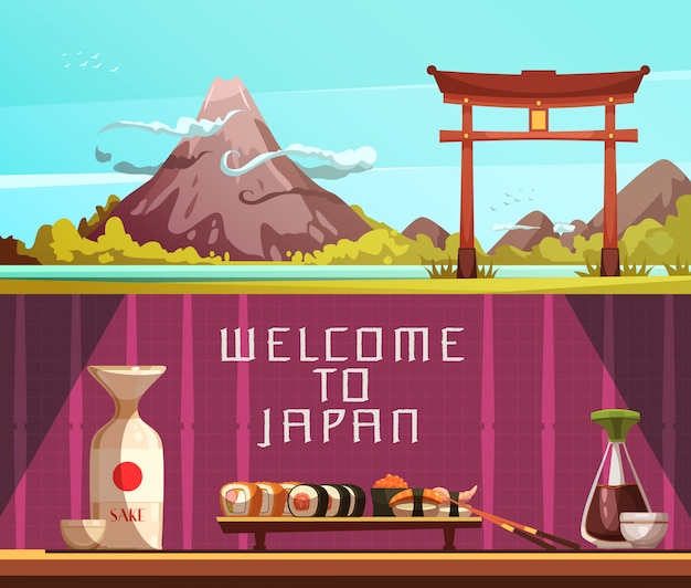 Japan for travelers 2 retro cartoon horizontal banners with pagoda fuji mountain and sushi isolated Free Vector