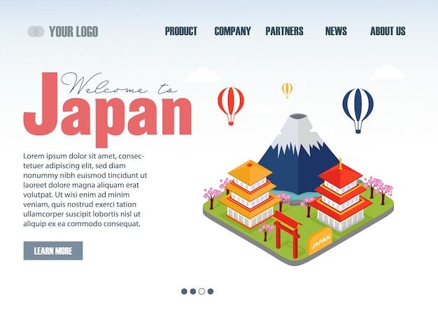 Посадочная страница путешествия японии Premium векторы