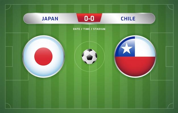 Japan vs chile scoreboard broadcast soccer south america's tournament 2019, group c Premium Vector