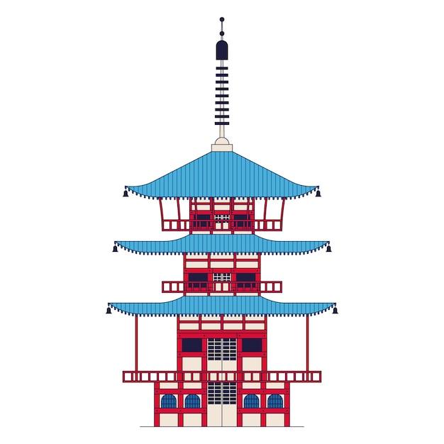 Японский храм, пагода чуреито. значок наброски, белый фон. Premium векторы